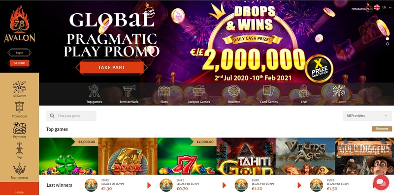 Avalon78 Casino Website